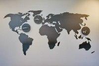 Weltkarte aus Stahl mit den Standorten der Socon GmbH