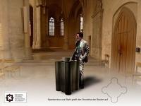 Entwurf einer Spendenbox aus Stahl für eine Kirche
