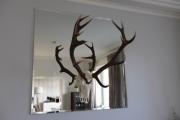 Spiegel mit einem Hirschgeweih
