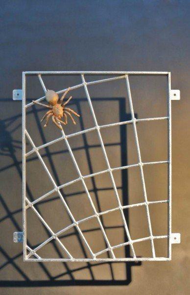 Spinnennetzgitter mit einer Spinne aus massiver Bronze
