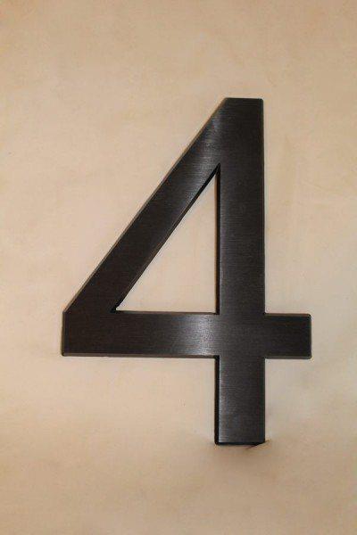 Hausnummer 4 aus Aluminium