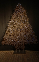 punktgeschweißter Tannenbaum aus 5 mm Rundstahl mit LED Lichterkette