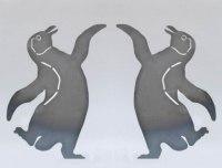 Lustige Pinguine aus 3 mm Stahl gelasert