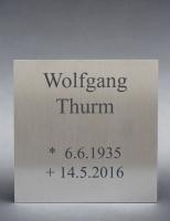 Edelstahl Grab-Platte mit Anlassbeschriftung
