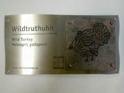Edelstahl Tierschilder mit einer Kupfer Applikation für den Zoo Hannover