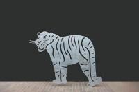 Gartenskulptur Tiger aus gelasertem und feuerverzinktem Stahl