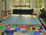 Tischerweiterung aus Stahl mit Linoleum belegt