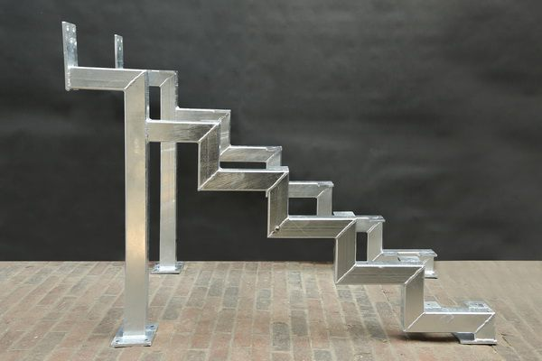 Unterkonstruktion aus Rechteckrohr für eine Treppe