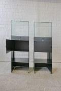 2 Glasvitrinen aus Stahl im Industrial - Look