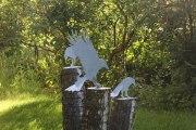 3 Vogelskulpturen von Hand geschnitten und verzinkt