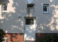 verzinkte Fenstergitter mit gelaserten Vögeln