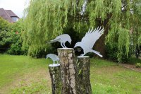 Vogelskulpturen für 3 Baumstümpfe