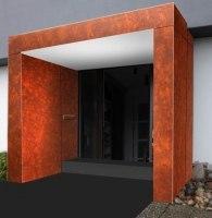 Eingangsüberdachung aus Corten Stahl