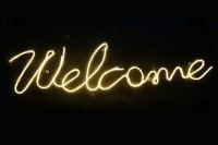Welcome - Schriftzug für eine Kirche