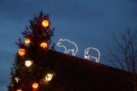 Eisbär und Nilpferd auf den Dächern in Meyers Hof im Zoo Hannover