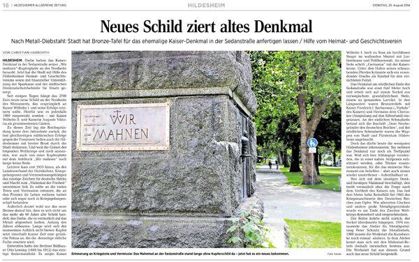 Wir mahnen, Gedenktafel für das Kaiser-Wilhelm Denkmal