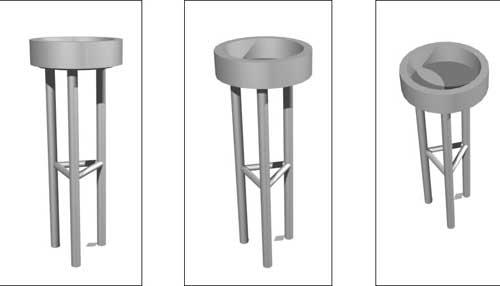 Aschenbecher aus Metallauf einem Dreibein