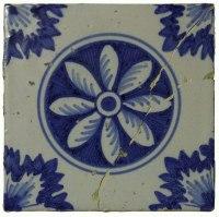 Wunderschöne, blaue, antike friesische Fliese