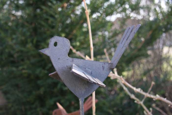 """Tierskulptur """"Vogel"""" aus gelasertem Stahl"""