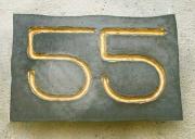 Hausnummer 55 als Kupferabschlag mit Vergoldung