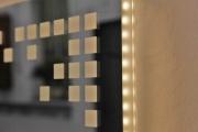 Spiegel in Teilbereichen gesandstrahlt und mit LED hinterleuchtet
