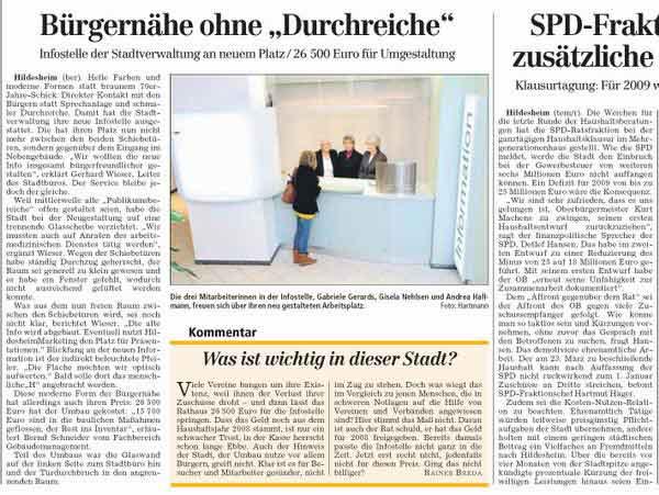 Bericht in der HAZ über die neue Informationstelle für das Rathaus in Hildesheim