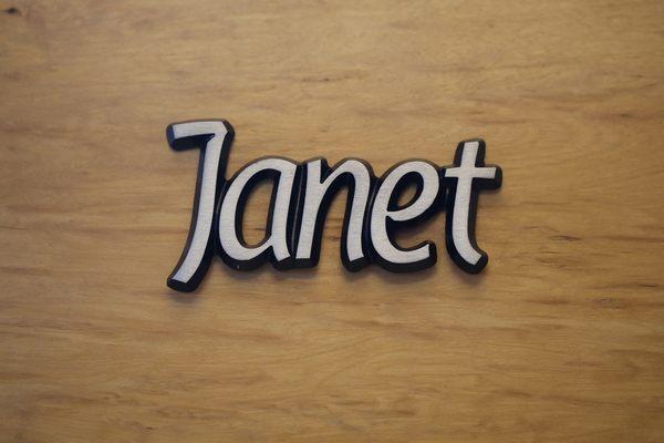 """Aluminium Schriftzug """"Janet"""""""