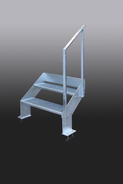 Kleine Treppe aus feuerverzinktem Stahl mit Gitterroststufen