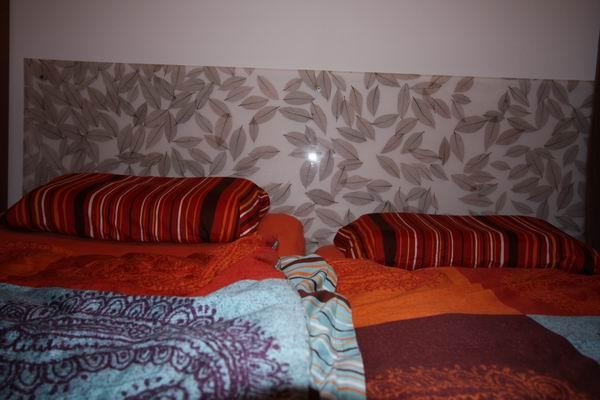 kopfteil f r ein bett aus mit bl ttern vergossenem acrylglas. Black Bedroom Furniture Sets. Home Design Ideas