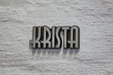 Aus Aluminium gefertigter Schriftzug / Name.