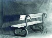 Gartenbank aus Grauguss, Sitzfläche aus Meranti