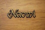 Schriftzug Naomi, Aluminium