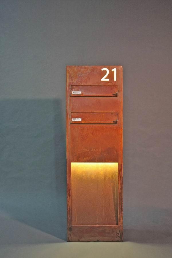 der besondere standbriefkasten aus cor ten stahl. Black Bedroom Furniture Sets. Home Design Ideas