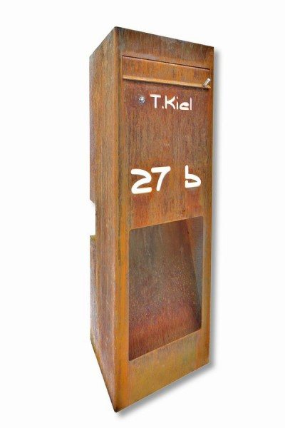 astreiner freistehender briefkasten aus rostigem stahl. Black Bedroom Furniture Sets. Home Design Ideas