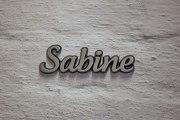 """Aluminium Schriftzug """"Sabine"""""""