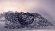 Schale - In die geschweißte Fläche aus Schmitzstruktur ist eine Kugel von ca. 20 cm hineingesetzt.