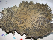Schale aus Messing und Stahl geschweißt, geschmiedet und geätzt