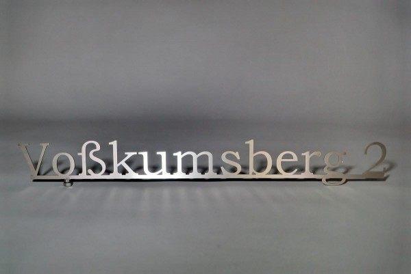 Straßennamen Schriftzug aus Edelstahl