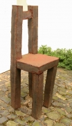 Stuhl Skulptur aus rostigem Stahlblech geschweißt