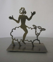 Skulptur mit Wappenmotiv aus Stahl