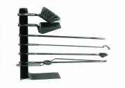 Kaminbesteck - Eisen geschmiedet, Griffe mit Messingdraht verziert