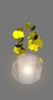 Ginkgo Leuchte - Kronleuchter mit großen, vergoldeten Ginkgo Blättern in Stahl