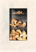 wandhängendes Kaminholz Regal mit einem Fach für Anmachholz