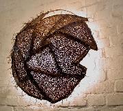 Kugelleuchte aus Kupfer als Wandleuchte, Durchmesser 80 cm